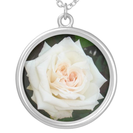White Rose With Natural Garden Background Silver Plated Necklace