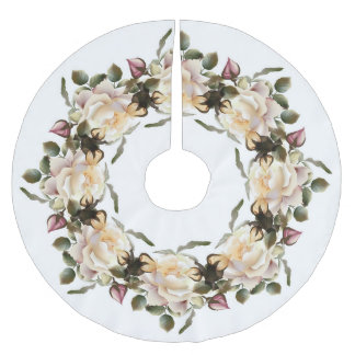 White Rose Wreath Tree Skirt