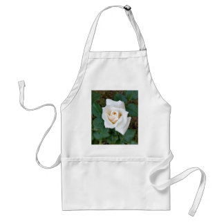 white rosebud adult apron