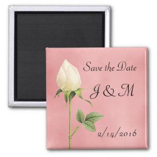 White Rosebud Custom Save the Date Magnet