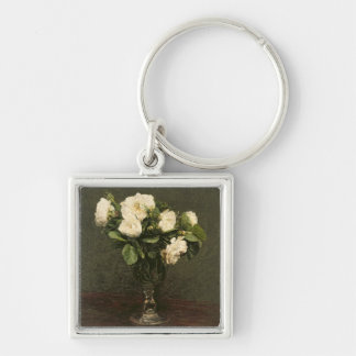 White Roses, 1875 (oil on canvas) Silver-Colored Square Keychain