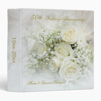 White roses 50th Wedding Anniversary 3 Ring Binder