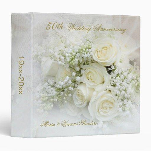 White roses 50th Wedding Anniversary 3 Ring Binder