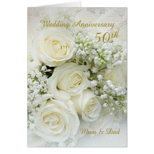 White Roses 50th Wedding Anniversary Card