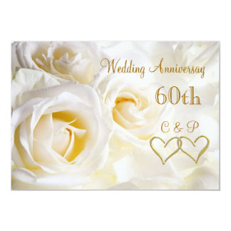 White roses 60th Wedding Anniversary Invitation Custom Announcements