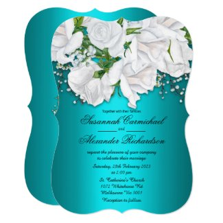 White Roses and Aqua Wedding Invitation