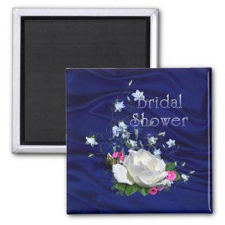 White Roses and Bluebells Bridal Shower Magnet