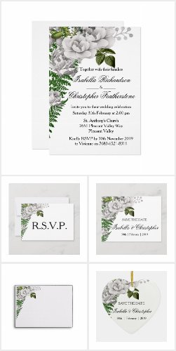 White Roses and Ferns Wedding