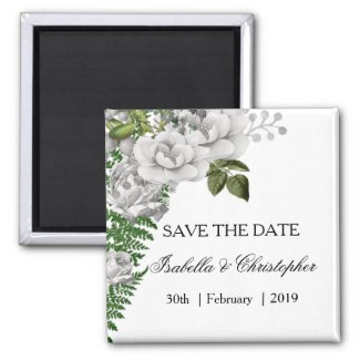 White Roses and Ferns Wedding Save the Date Magnet