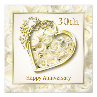 White roses and heart 30th Wedding Anniversary Invitations