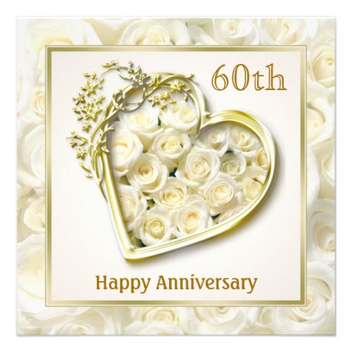 White roses and heart 60th Wedding Anniversary Custom Invites