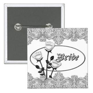 White Roses and Lace Bride Button 2 Inch Square Button