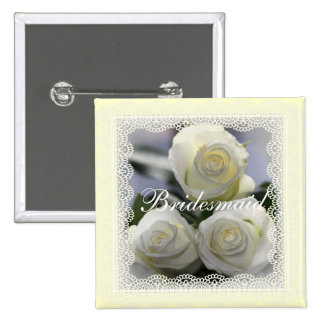 White Roses and lace Wedding badges Pinback Buttons