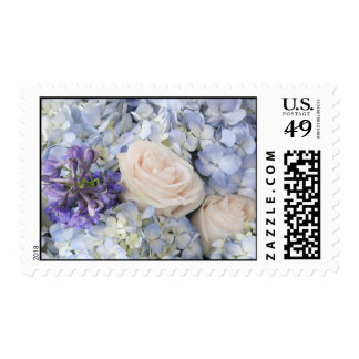White Roses and Light Blue Flowers Stamp
