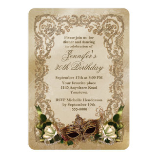 "White Roses and Masquerade Mask Birthday 5"" X 7"" Invitation Card"