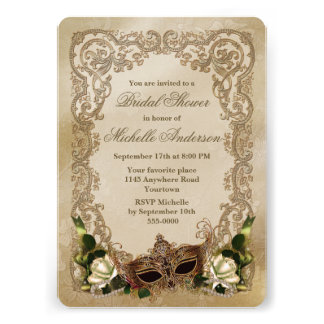 White Roses and Masquerade Mask Bridal Shower Personalized Announcements