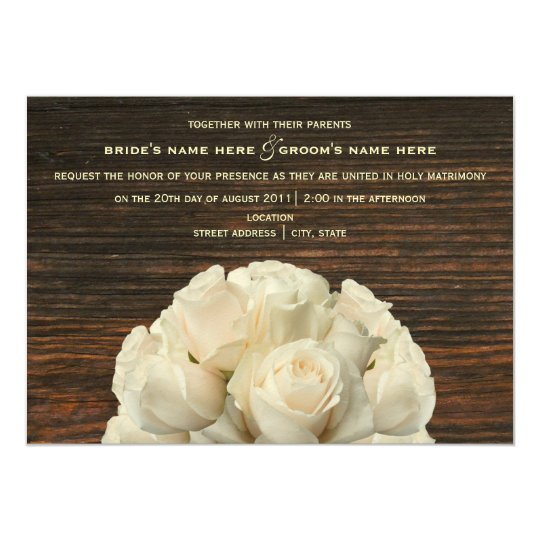 White Roses & Barnwood Rustic Wedding Invitation