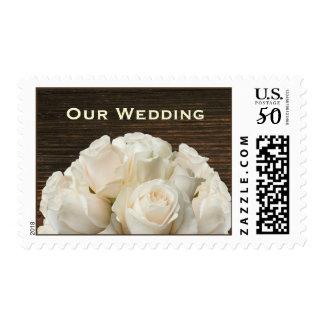 White Roses & Barnwood Rustic Wedding Postage