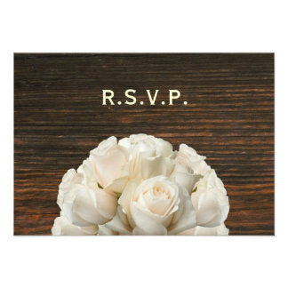 White Roses & Barnwood Rustic Wedding RSVP Personalized Announcements