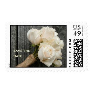 White Roses & Barnwood Wedding Save the Date Postage