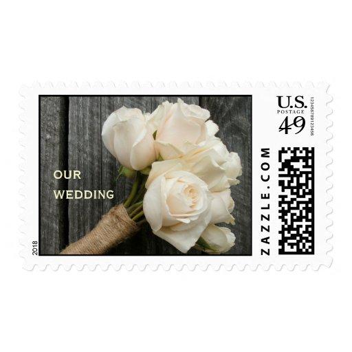 White Roses & Barnwood Wedding Stamps