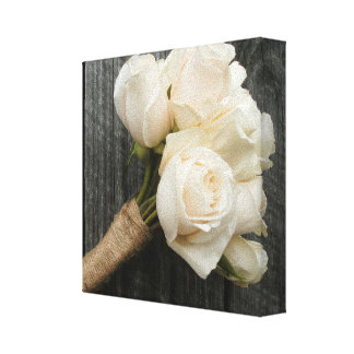 White Roses & Barnwood Wrapped Canvas Stretched Canvas Print