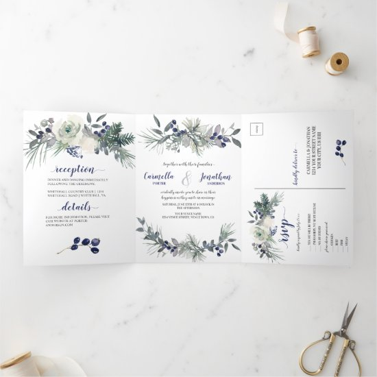 White Roses, Blue Berries, Pine Needles Wedding   Tri-Fold Invitation