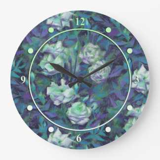 """""""White roses, blue leaves"""", beautiful flowers Large Clock"""