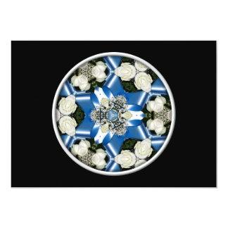 White Roses & Blue Ribbons Kaleidoscope Card