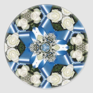 White Roses & Blue Ribbons Kaleidoscope Classic Round Sticker
