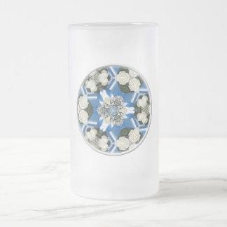 White Roses & Blue Ribbons Kaleidoscope Coffee Mug