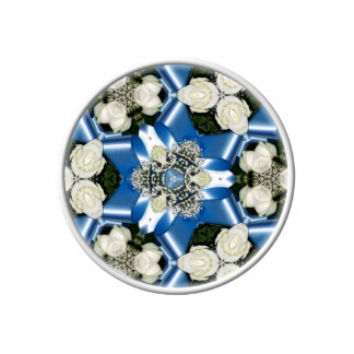 White Roses & Blue Ribbons Kaleidoscope Cut Outs