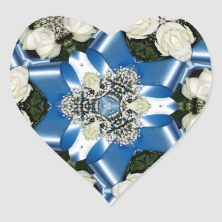 White Roses & Blue Ribbons Kaleidoscope Heart Sticker