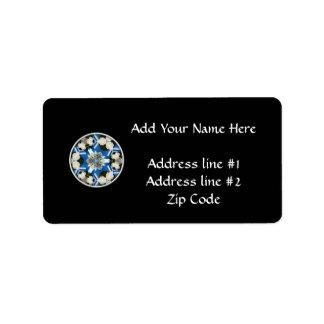 White Roses & Blue Ribbons Kaleidoscope Personalized Address Labels