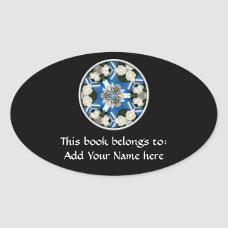 White Roses & Blue Ribbons Kaleidoscope Oval Sticker