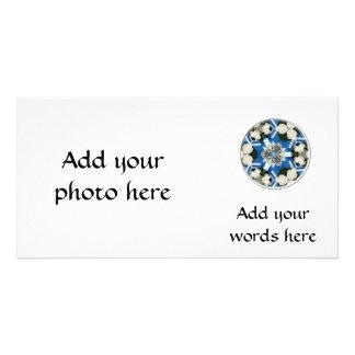 White Roses & Blue Ribbons Kaleidoscope Photo Card