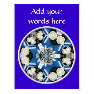 White Roses & Blue Ribbons Kaleidoscope Post Cards