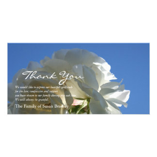 White Roses Blue Sky 3 - Sympathy Thank You Cards Photo Card
