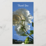 """White Roses Blue Sky Sympathy Thank You Photo Card<br><div class=""""desc"""">Floral photography - Simple,  modern and elegant customizable photo card with a beautiful photograph of wild white roses in the sun. One of roses began to fade: to remind of the transience of life. You can easily change text color,  font,  size and position by clicking the customize button.</div>"""