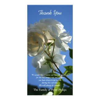 White Roses Blue Sky Sympathy Thank You Photo Card