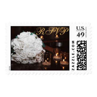 White Roses Bouquet & Candlelight RSVP Postage