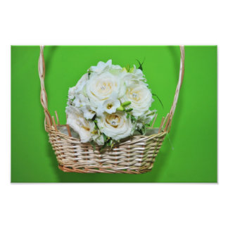 White roses bouquet in a basket photographic print