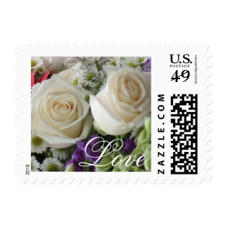 White Roses Bouquet Stamp