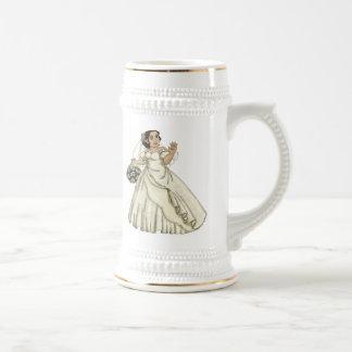White Roses Bride Beer Stein