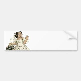White Roses Bride Bumper Sticker