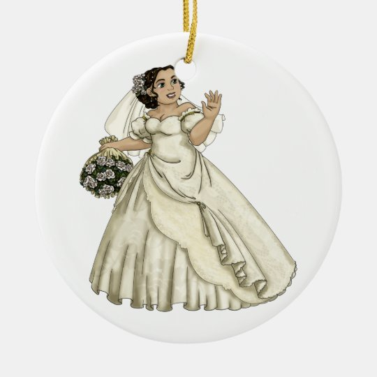 White Roses Bride Ceramic Ornament