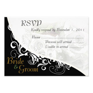 White Roses Bride & Groom RSVP Card #2 Custom Announcements