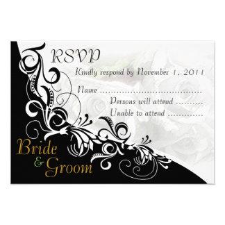White Roses Bride & Groom RSVP Card #2B