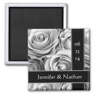 White Roses Bride Groom Wedding Magnet