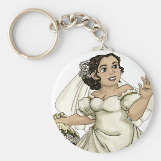 White Roses Bride Keychain